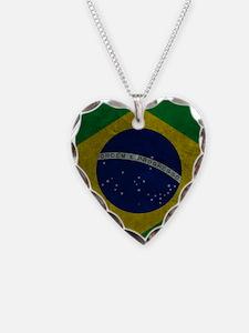 Grunge Braziilan Flag Necklace