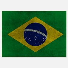 Grunge Braziilan Flag Invitations