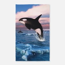 Killer Whales In The Arctic Ocean 3'x5' Area Rug