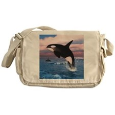 Killer Whales In The Arctic Ocean Messenger Bag