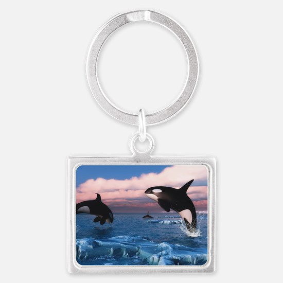 Killer Whales In The Arctic Ocean Keychains