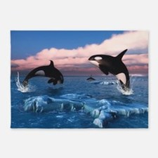 Killer Whales In The Arctic Ocean 5'x7'Area Rug