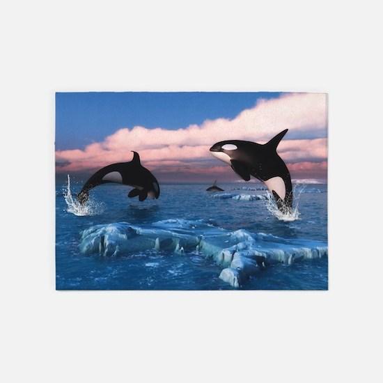 Killer Whales In The Arctic Ocean 5'x7'Area Rug