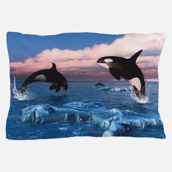 Killer Whales In The Arctic Ocean Pillow Case