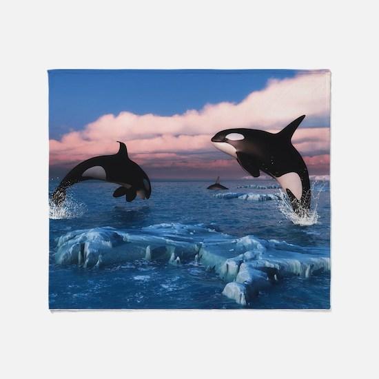 Killer Whales In The Arctic Ocean Throw Blanket