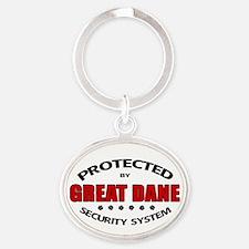 Great Dane Security Oval Keychain