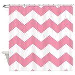 Chevron Zigzag Pink Shower Curtain