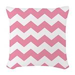 Chevron Zigzag Pink Woven Throw Pillow