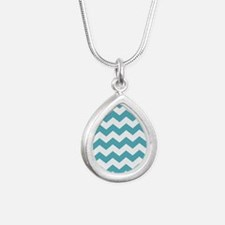 Chevron Zigzag Teal Silver Teardrop Necklace