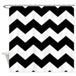 Chevron Zigzag Black Shower Curtain