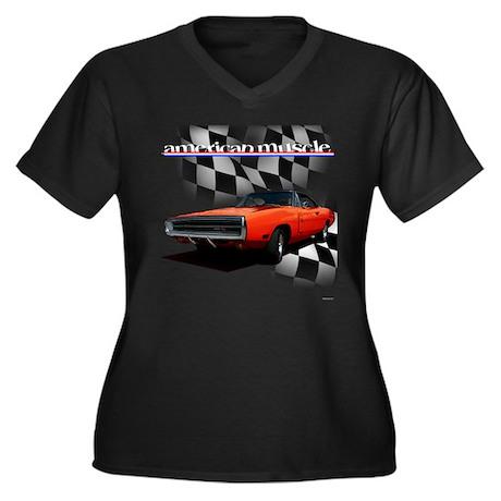 1970 Dodge Charger Red Women's Plus Size V-Neck Da