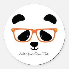 Cute Panda Orange Round Car Magnet
