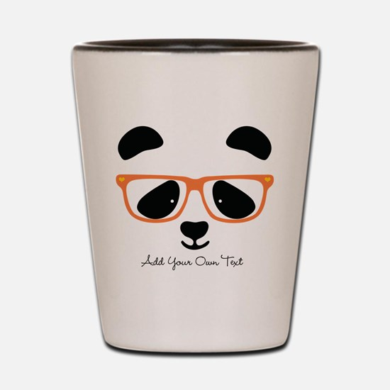 Cute Panda with Orange Glasses Shot Glass