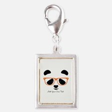 Cute Panda with Orange Glass Silver Portrait Charm