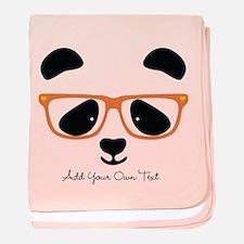 Cute Panda with Orange Glasses baby blanket