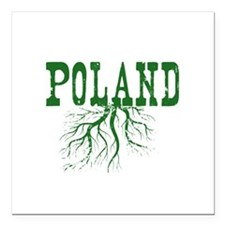 "Poland Roots Square Car Magnet 3"" x 3"""
