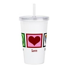 Peace Love Books Acrylic Double-wall Tumbler
