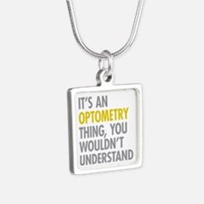Its An Optometry Thing Silver Square Necklace