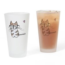 Brown and White Kitty Drinking Glass
