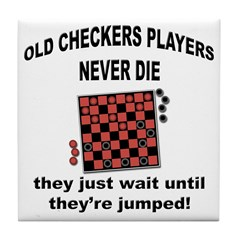 Old Checkers Players Tile Coaster