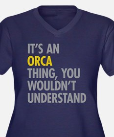 Its An Orca Women's Plus Size V-Neck Dark T-Shirt