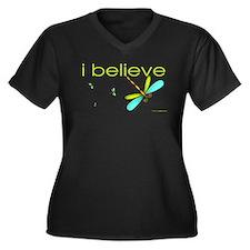 I believe in dragonflies Women's Plus Size V-Neck