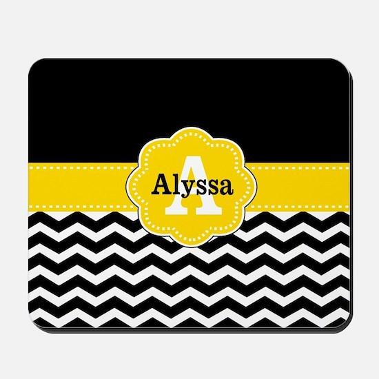 Black Yellow Chevron Personalized Mousepad