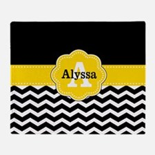 Black Yellow Chevron Personalized Throw Blanket