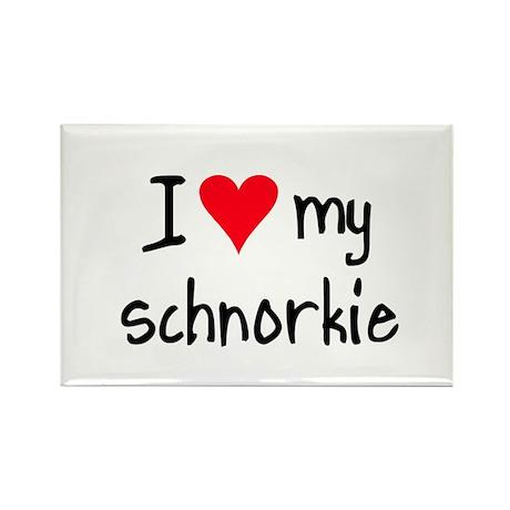 I LOVE MY Schnorkie Rectangle Magnet