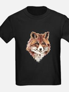 Cute Watercolor Red Fox Animal Nature Art T-Shirt