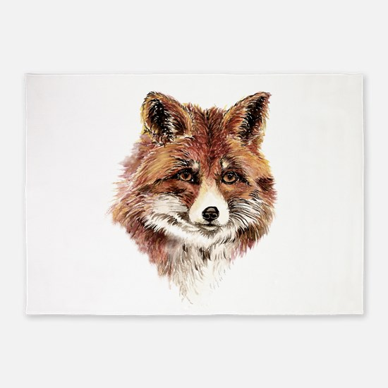 Cute Watercolor Red Fox Animal Nature Art 5'x7'Are