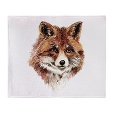 Cute Watercolor Red Fox Animal Nature Art Throw Bl