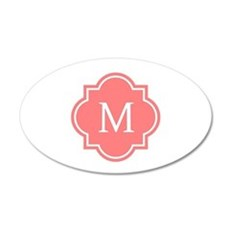 Personalized coral pink quatrefoil monogram Wall D