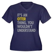 Its An Otter Women's Plus Size V-Neck Dark T-Shirt
