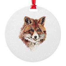 Cute Watercolor Red Fox Animal Nature Art Ornament