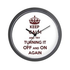 Keep Calm And Try Turning It Off On Wall Clock