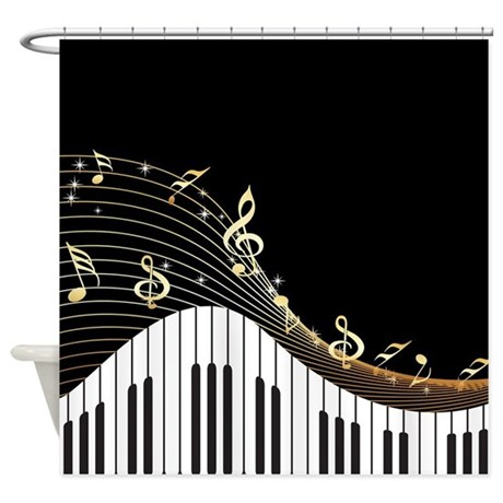 Ivory Keys Piano Music Shower Curtain By Spicetree