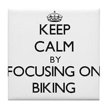 Keep Calm by focusing on Biking Tile Coaster