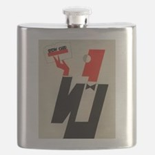 Vintage Man wearing Monocle and Bowtie Flask