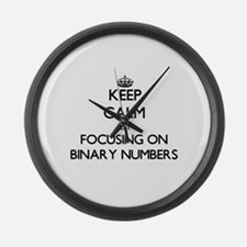 Keep Calm by focusing on Binary N Large Wall Clock