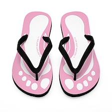 White Pink Flop Feet Foot Flip Flops