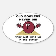 Old Bowlers Never Die Oval Decal