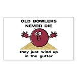 Old Bowlers Never Die Rectangle Sticker