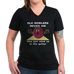 Old Bowlers Never Die Women's V-Neck Dark T-Shirt