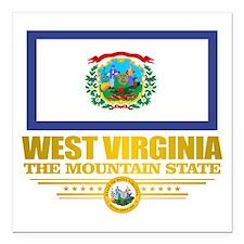 """West Virginia (v15) Square Car Magnet 3"""" x 3"""""""