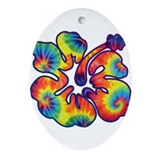 hibiscus tie dye 1 Ornament (Oval)