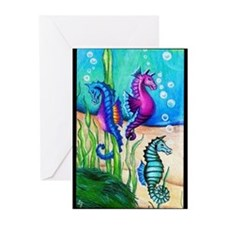 Three Water Horses Greeting Cards