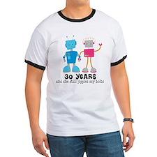 30th Anniversary Retro Robot Couple T-Shirt
