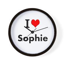 I Love Heart Custom Name (sophie) Text Wall Clock