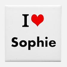 I Love Heart Custom Name (sophie) Tile Coaster